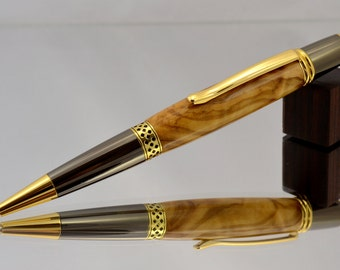 Fancy Wood Twist Pen - Handmade Pen Handmade from Olivewood - 24kt Gold Wooden Ink Pen - Journal Writing Pen - Gift - Fancy Custom Pen Diary