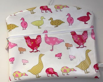 Chicken and Duck Design Oil Cloth Peg Bag