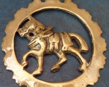 Rare antique HORSE BRASS Horse in Harness Style Design Made in England