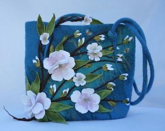 Shoulder bag, felt bag, hand made, felted purse, designer bag, felted bag, felt flower, blue bag, women felt bag, womens fashion