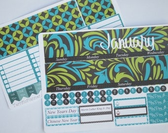 January Monthly Spread Kit Planner Stickers Removable Matte  or Glossy Stickers #125