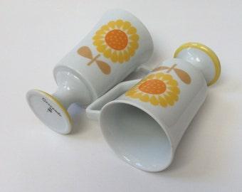 Vintage Serenade by JSC Sunflower Pedestal Mugs - Set of Two