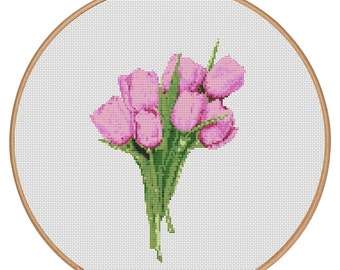 MORE for FREE - Pink Tulips - Counted Cross stitch pattern PDF - Instant Download - Cross Stitch Pattern - Flower-Love - Needlepoint #1516