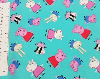Peppa Pig Aqua Quilting Fabric - Fat Quarter or Yardage