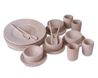 Children's Wooden Dinner Tea Set - 20 Items - Montessori and Waldorf Inspired Pretend Play