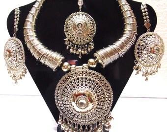Tribal ethnic jewelry necklace | belly Dance gypsy kuchi banjara goth boho jewelry|oxidized sterling Silver plated necklace| Tribal Jewelry
