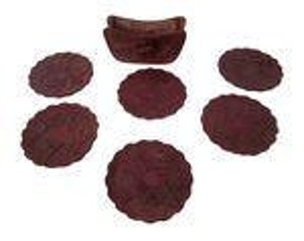 Vintage Peruvian Leather Coasters- Set of 6
