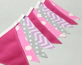 Bunting Garland,Fabric Bunting Flags, Pennant Banner, Nursery Decor, Baby Bunting, Hot Pink, Gray, Lavender, Fabric Banner, Baby Shower
