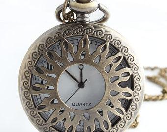1pcs/ 45mm ,Sun Hollow pocket watch Necklace Chain,Necklace Pendant,craft supply BM-87
