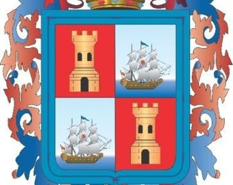2 Pieces Campeche Mexico. Coat Of ArmsDecals Stickers Full Color/Weather Proof. U.S.A Free Shipping