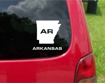 2 Pieces Arkansas AR  State USA Outline Map Stickers Decals 20 Colors To Choose From.  U.S.A Free Shipping
