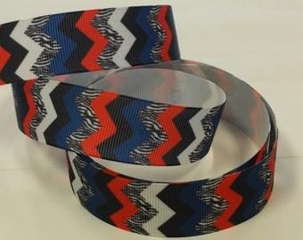 1 inch CHEVRON Blue, Red, Zebra, White, Black - Printed Grosgrain Ribbon for Hair Bow