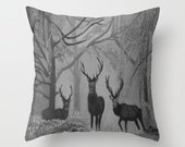 Deer in the woods throw pillow - scottish scenery - cushion cover in black & white