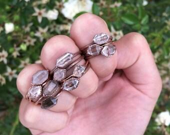 Herkimer Diamond Ring - Raw Crystal Quartz Ring - Herkimer Diamond Electroformed Ring - Stackable Herkimer Diamond Ring