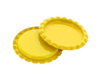10 Caps - Flattened Yellow Bottle Caps