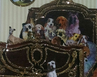 Dog card- Bedtime Story, Dogs, Bed, From Us, Antique Bed