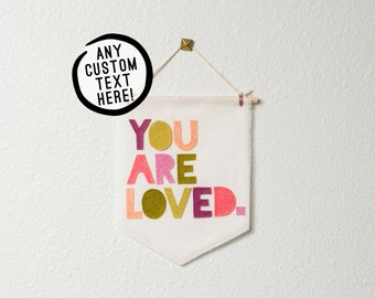 CUSTOMIZABLE MID-SIZE wall hanging / banner -- custom text // nursery banner, custom wall banner, custom wall decor, personalized gift idea