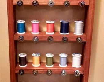 Thread and bobbin shelf with Ribbon holder