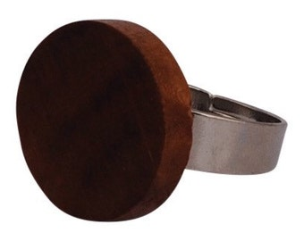 Backgammon ring, brown wood ring, steel ring, wood jewelry- adjustable ring