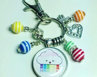 Kawaii cloud keyring, kawaii cloud keychain, rainbow kawaii cloud, kawaii cloud, kawaii rainbow keyring