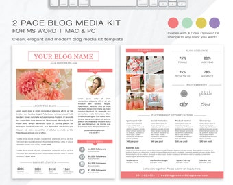 Media Kit Template 2 Page  | Blog Media Kit | Press Kit Template | Electronic Press Kit | Instant Download (MS Word) | 4 Color Options