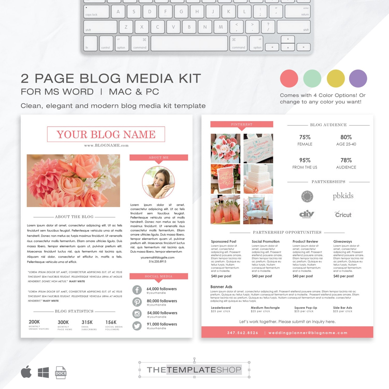 Media kit template 2 page blog media kit press kit for Press pack template