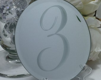 Elegant Etched Mirror Table Numbers - Four Shapes to Choose From