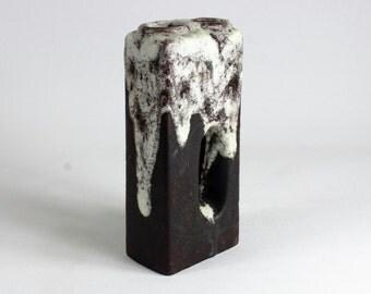 Brown Chimney Fat Lava Vase, Vintage, Mid Century, West German Pottery, 70s - vintage