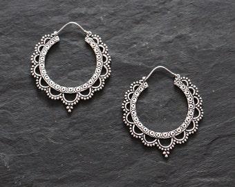 Lotus Silver tone hoops earrings, tribal earrings, boho hoops,ethnic earrings