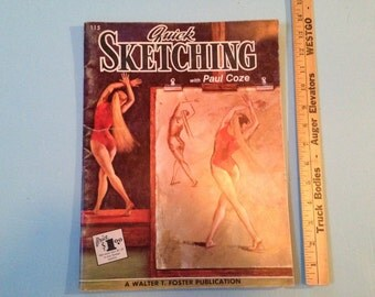 Vintage #115 Walter Foster Quick Sketching with Paul Coze soft cover art instructional book. #513