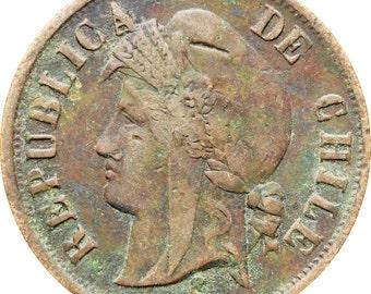 Chile 1880 2 Centavos Coin