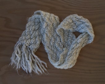 Hand Knit White and Silver Scarf