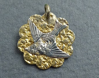 gold filled bird charm