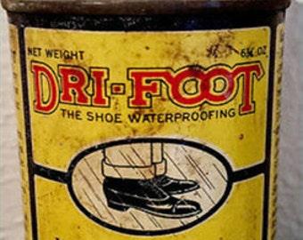 Weekend Super Sale! Vintage Metal Can Dri-Foot Waterproof Preserves Softens Leather Old Antique