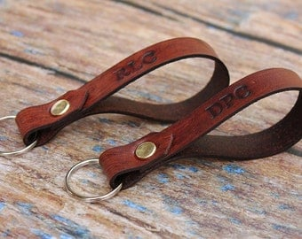 Set of Two Personalised Leather Keyrings / Keychains, First Home, House Warming Gift, Custom Initial Keyring, Christmas Stocking Filler