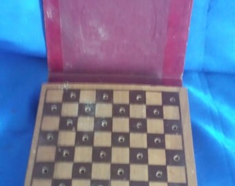 Vintage Boxed Travel Draughts/Checkers