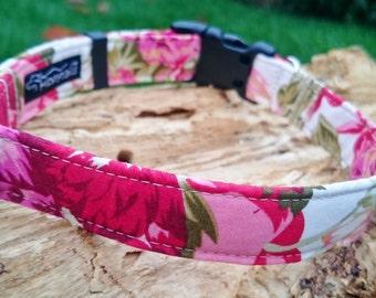 Red and Pink Vintage Rose Designer Dog Collar, Designer Dog Slip-on Bandana