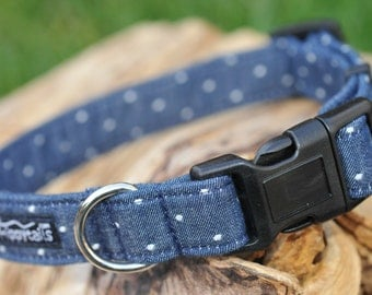 Denim Blue & White Polka Dot Designer Dog Collar