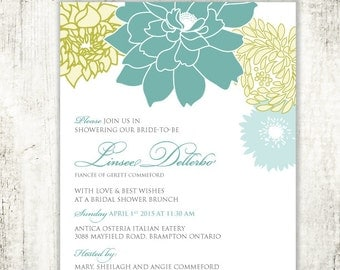 Floral BRIDAL SHOWER Invitation // Sunset // Wedding Shower// PRINTED Invites //Blue and Green