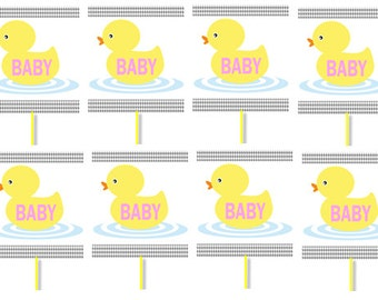 Girl's Baby Duck Birthday Party Cupcake Decoration Toppers Picks -24pack