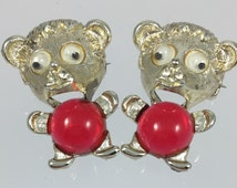 Jelly Belly Googly Eyes Teddy Bear Scatter Pins - Vintage Sixties Matched Set, Red Lucite Jelly Belly, Whimsical Figurals Brooches