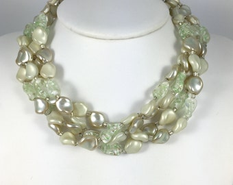 "Signed Japan Beaded Choker Necklace - Vintage 1950s Four Strand, Pearly White Beads, Pastel Green Art Glass Beads Necklace 14.5"" to 17"" Long"