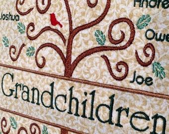 Grandparent Gift - Family Tree Pillow - Grandpa Grandma Gift - Keepsake Heirloom Pillow - Custom Personalized Embroidered Pillow - Memory