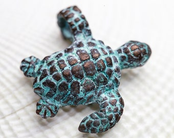 Sea Turtle Charms, Double Sided, Copper and Green Patina, Mykonos Greek Metal Casting, 20x22 mm, 2 Pc - MK194