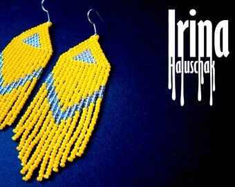 Beaded earrings, seed bead earrings, modern earrings, boho earrings, fringe earrings, beadwork jewelry, yellow and transparent, Chevron