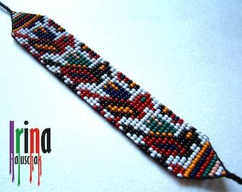 Ukrainian seed beaded bracelet with birds, folk pattern