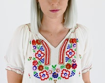 Divine Vintage 40's Rayon Crepe Embroidered Hungarian Peasant Blouse