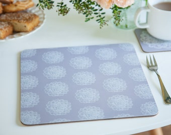 Square placemats, grey placemats, flower placemats, crochet doily /flower, large placemats, set of 4, 24x24cm, 9.5x9.5""