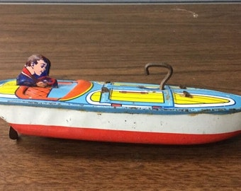 Tin Litho Vintage Toy Boat