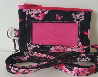 Black and Pink Floral Print Zippered ID/Phone Pouch With Lanyard